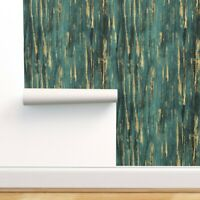 Removable Water-Activated Wallpaper Starry Night Celestial Time Van Gogh Teal