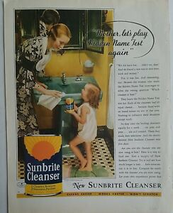 1934 Sunbrite cleanser green bathroom lavatory sink little girl curls vintage ad