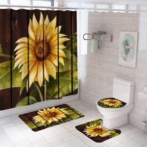 Sunflower Bathroom Rug Set Shower Curtain Thick Toilet Lid Cover Bath Mat