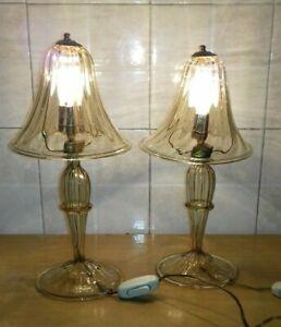 Bellissima Coppia abat-jour vetro murano anni 50 murano champagne old Table lamp