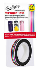 Its So Easy Stripe 'em Nail Art Stripe Decorative Stripping Tape 10 Rolls