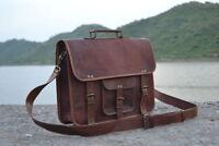 Men's Leather Messenger Laptop Distressed Satchel Briefcase Office Shoulder Bag