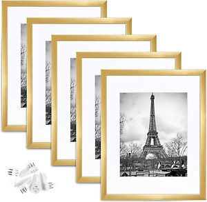 11x14 Picture Frame Wall Gallery Photo Frames Gold Set of 5 NEW