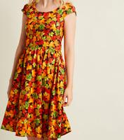 Retrolicious ModCloth Autumn Leaf Festival Maples Fit n Flare Dress, MEDIUM
