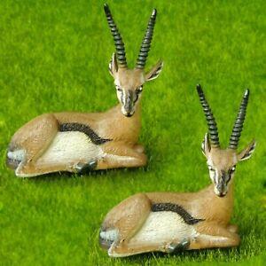 2pcs Antelope Wild Animal Fairy Garden Terrarium Decor Figurine Educational Toy