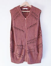 Seed Heritage Size M Brown Rose Gold Crochet Knit Zip Front Vest Pockets