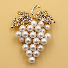 Grapes Brooches Gold Plated Pearl Brooch Rhinestone Charm Scarf Buckle Pin NewWG