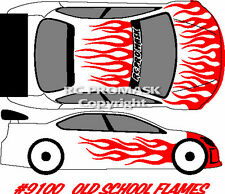 Paint Mask RC 9100 OLD SCHOOL FLAMES  Hot Bodies Associated Losi decal body