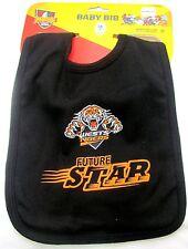 SET OF 2 WEST TIGERS NRL TEAM MASCOT FUTURE STAR BABY INFANT BIB BLACK