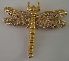 Signed Swarovski Swan Gold tone Rhinestone Crystal Dragonfly Brooch Pin A 10