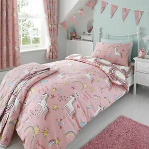 HLC Girls Kids Unicorns Rainbows Pink Duvet Cover Curtains Throw Bunting