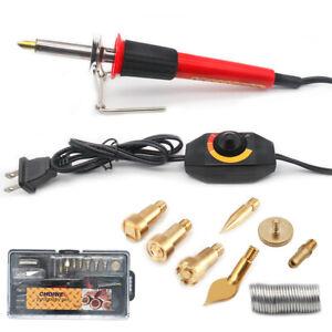 30W 110V Wood Burning Tool Kit Craft Soldering Iron Pyrography Art Pen Us Plug