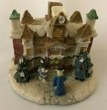 """Multi-Color City Hall 2 1/4 X 3"""" Trackside Village House with People Figurine"""