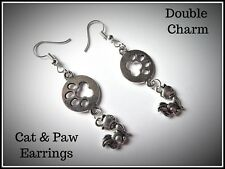 Cute Cat & Paw Earrings,Kitten,Pierced,Fashion,Costume,Gift Idea,Double,Boho