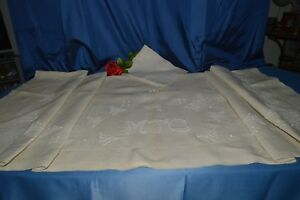 Sheet Antique IN Linen With Return Embroidered Mtc +1 Pillowcase Pillow Precut