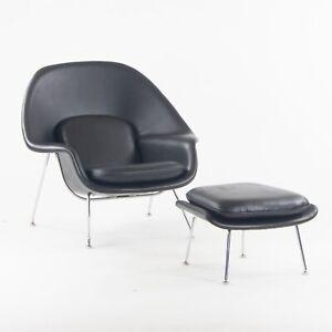 1960s Eero Saarinen Knoll International Womb Chair and Ottoman New Black Leather