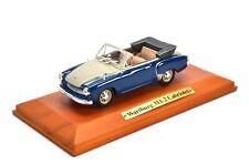 1:43 Atlas DDR Collection Wartburg 311-2 Cabriolet blue *Wood Base*