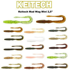 "Keitech Mad Wag mini 2,5"" top cebo 12 Twister percas, truchas, peces planos"