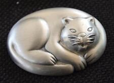 Vintage Signed JJ Pewter SLIPING CAT Pin Brooch