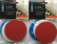Chef Aid 2 x 3 Can Covers/Plastic Reusable Tin Lids Pet Food Keeps Food Fresh