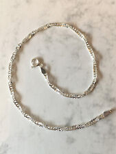 """New 925 Sterling Silver Singapore Anklet Bracelet Chain 10"""" Ankle Chain G1104"""