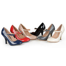 Journee Collection Womens Patent Finish Round Toe Mary Jane Pumps New