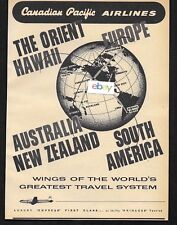 CANADIAN PACIFIC AIRLINES 1956 WINGS OF THE WORLD'S GREATEST TRAVEL SYSTEM AD