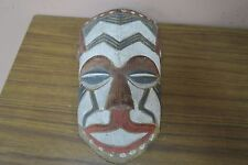 "Vintage Hand Carved, Painted Wooden Mask African ? Mexican ? 6"" x 9"""