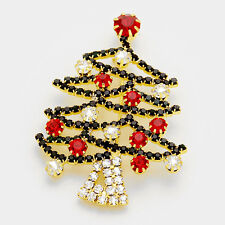 XMAS  Gold Crystal Siam Red Green Christmas Tree Brooch / Pin By Rocks Boutique