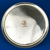 GEORGE III OLD SHEFFIELD PLATE Footed SALVER / WAITER TRAY c1780 Crested
