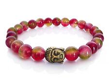 Handmade Semi Precious Stone Bracelet w/ Tourmaline Beads & Brass Buddha Head