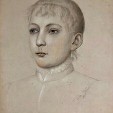 Portrait de jeune femme par Thérèse Guérin ( 1861-1933)