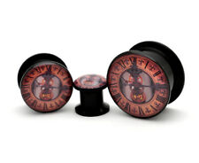 Pair of Black Acrylic Steampunk Clock Style 2 Picture Plugs gauges Choose Your S