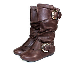 klein-78k New Buckles Zipper Kids Youth Synthetic Flats Boots Shoes D, Brown 2