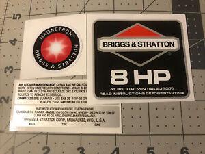 Briggs & Stratton 8 hp 1986-91 Black Shroud Labels Decals set of 4