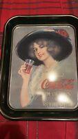 Coca Cola Coke Metal Tray Hamilton King Girl 1912 Replica 1972 Commemorative NEW
