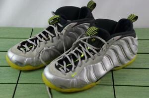 2014 Nike Air Foamposite One Premium Metallic Silver Volt Sz 15 CAMO 575420-004