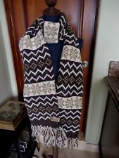 Women's Gap Winter Knit Scarf Brown Pink Ecru Stripes Snowflakes Fringe NWOT