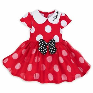 NWT Disney Store Minnie Mouse Red Bodysuit Costume & Ears Headband SET Baby