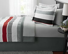 Modern Bedroom Red Stripe Bed in a Bag Bedding Set Comforter King Size Cool Gray