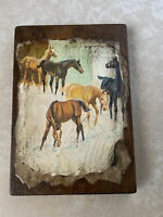 Vintage Print On Wooden Board by Equestrian Artist Sam Savitt Horses Horse