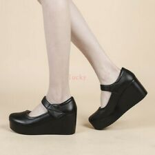 Women Round Toe High Wedge Heel Mary Jane Fall Faux Leather Comfort Nurse Shoes