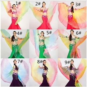 Rainbow Color Gradient Transparent Egyptian Belly Dance Costume Angel Isis Wings
