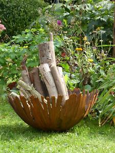 Edelrost Schale mit fransigem Rand Rissschale 2 Größen Feuerschale Pflanzschale