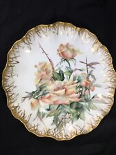 """1893 Jean Pouyat (JPL) France 11.25""""  Hand Painted Signed PLATE -Peach Roses"""