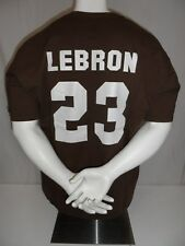 LEBRON JAMES Used 2000s FOTL Cleveland Browns Football NFL Screened T-Shirt 2XL