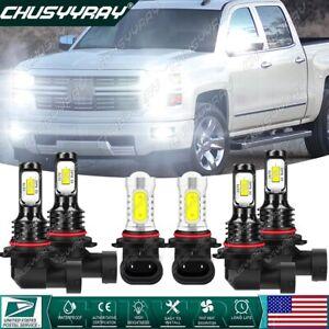 For Chevy Silverado 1500 2500 3500 2003-2006 -6pc LED Headlights Fog Light 6000K