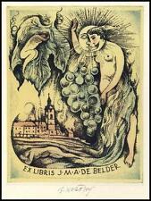 Kratky Bohumil Exlibris L1 Erotic Erotik Nude Grapes Voman 46