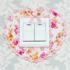 2Pcs Pastoral Lace Fabric Switch Stickers Wall Stickers Switch Cover Dust Decals