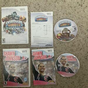 2 Lot Shawn Johnson Gymnastics & Skylanders Giants Nintendo Wii Game Working